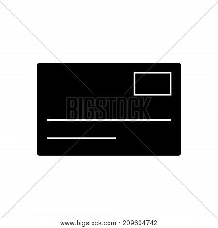postcard, email  icon, vector illustration, black sign on isolated background
