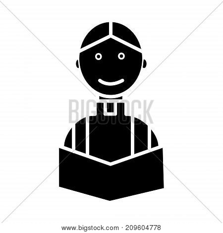 priest at wedding church religion christian  icon, vector illustration, black sign on isolated background