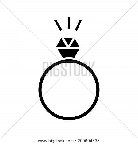 ring with diamond  icon, vector illustration, black sign on isolated background