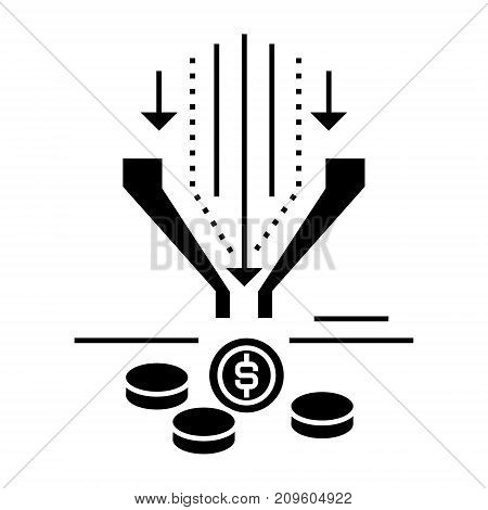 sales funnel  icon, vector illustration, black sign on isolated background