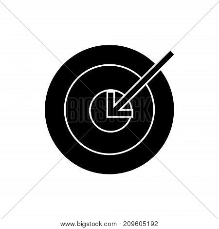 target arrow  icon, vector illustration, black sign on isolated background