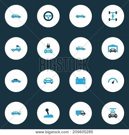 Auto Colorful Icons Set. Collection Of Chassis, Lorry, Speedometer And Other Elements