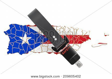 Puerto Rico map with safety belt. Security and protect or insurance concept 3D rendering