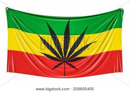 Rasta Flag Cannabis leaf on Rastafarian flag hanging on the wall 3D rendering