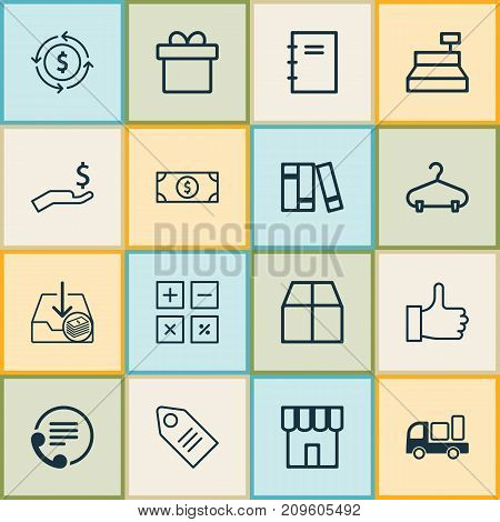 Ecommerce Icons Set. Collection Of Present, Shop, Bookshelf And Other Elements