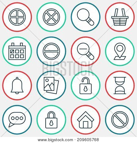 Network Icons Set. Collection Of Exit, Shop, Pinpoint And Other Elements