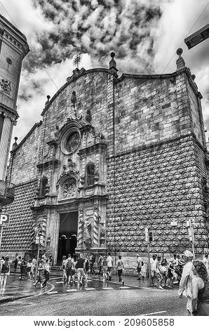 Church Of Betlem On La Rambla, Barcelona, Catalonia, Spain