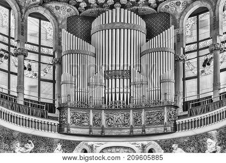 Pipe Organ, Palau De La Musica Catalana, Barcelona, Catalonia, Spain