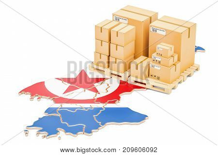 Shipping and Delivery from North Korea isolated on white background