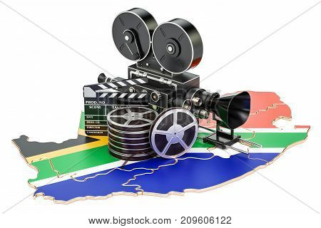 South Africa cinematography film industry concept. 3D rendering isolated on white background