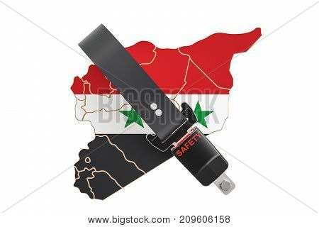 Syrian map with safety belt. Security and protect or insurance concept 3D rendering