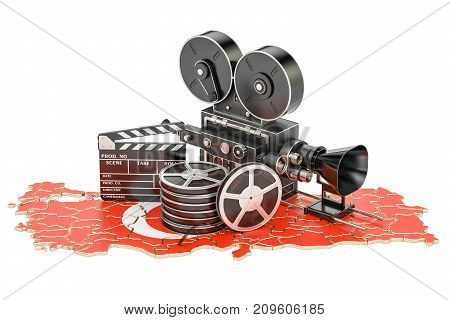 Turkish cinematography film industry concept. 3D rendering isolated on white background