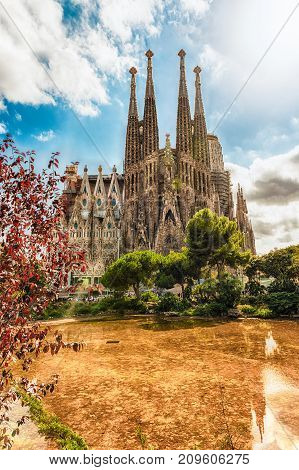 Scenic View Of The Sagrada Familia, Barcelona, Catalonia, Spain