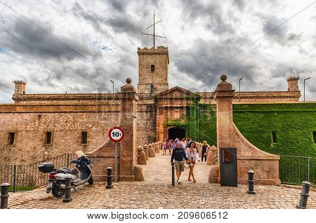 Main Entrance To The Castle Of Montjuic, Barcelona, Catalonia, Spain