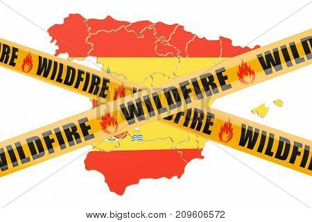 Wildfire in Spain concept 3D rendering isolated on white background