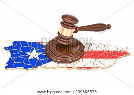 Wooden Gavel on map of Puerto Rico 3D rendering isolated on white background