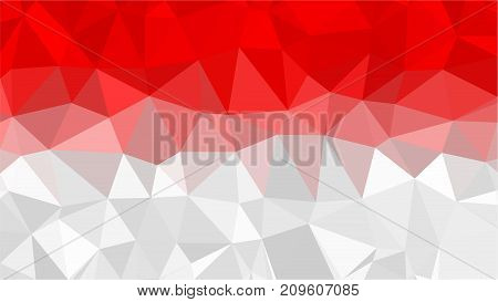 Indonesia low poly triangle style flag Vector Illustration.