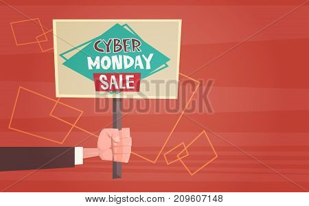 Hand Holding Banner With Text Cyber Monday Sale Deals Design Online Holiday Shopping Concept Vector Illustration