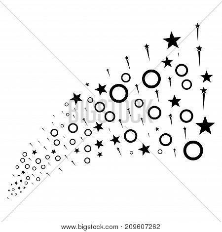 Source of confetti stars symbols. Vector illustration style is flat black iconic confetti stars symbols on a white background. Object fountain combined from icons.
