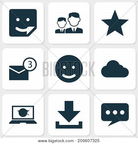 Social Icons Set. Collection Of Chat, Partnership, Overcast And Other Elements