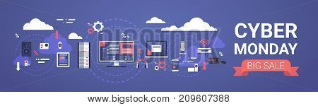 Cyber Monday Big Sale Banner Design With Modern Devices, Computer On Background Vector Illustration