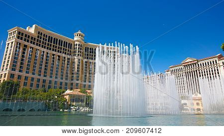LAS VEGAS, USA - Oct 10: Fountains of Bellagio on Oct 10, 2017 in Las Vegas. Fountains of Bellagio, which have featured in several movies, is a large dancing water fountain synchronized to music.