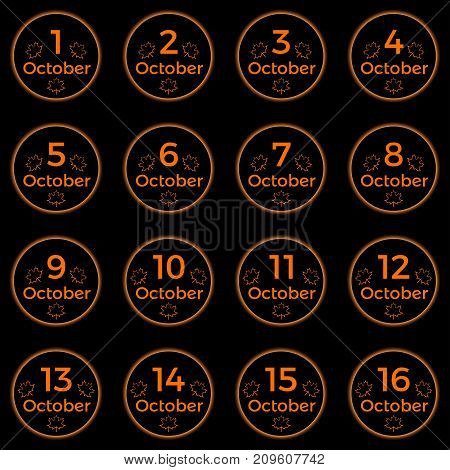 October Date, Date Collection Of October In Orange Color
