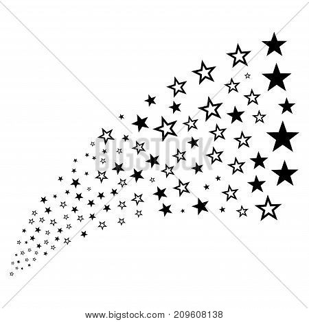 Stream of decoration stars symbols. Vector illustration style is flat black iconic decoration stars symbols on a white background. Object fountain organized from pictographs.