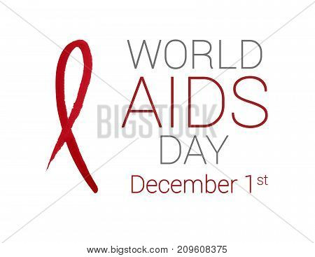 Hand drawn red watercolor ribbon for World AIDS Day in December on white background