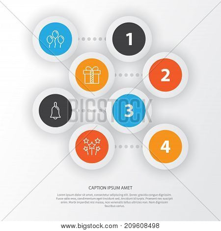 Happy Icons Set. Collection Of Air Ball, Gift, Handbell Elements