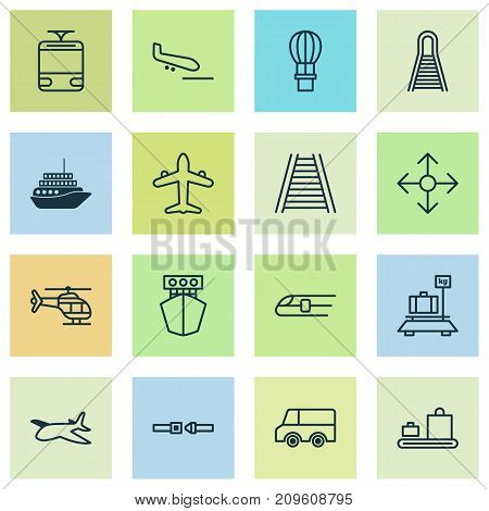 Delivery Icons Set. Collection Of Road Pointer, Railroad, Safety Belt And Other Elements