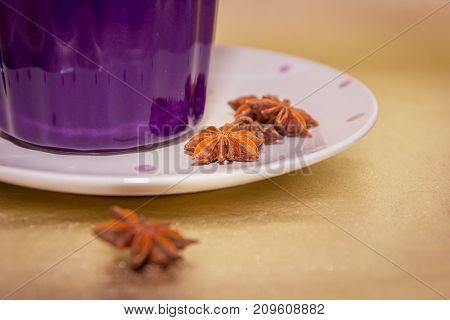 Violet Mug With Baden Stars Close-up