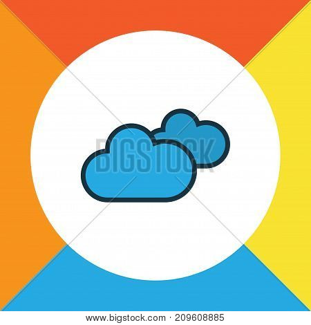 Premium Quality Isolated Overcast Weather Element In Trendy Style.  Cloudy Day Colorful Outline Symbol.