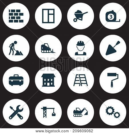 Industry Icons Set. Collection Of Spatula, Cogwheel, Builder And Other Elements