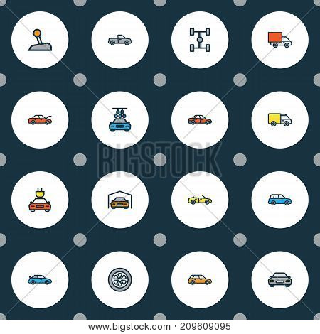 Car Colorful Outline Icons Set. Collection Of Level, Shed, Car And Other Elements