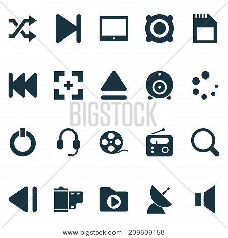 Music Icons Set. Collection Of Memory, Filmstrip, Waiting And Other Elements