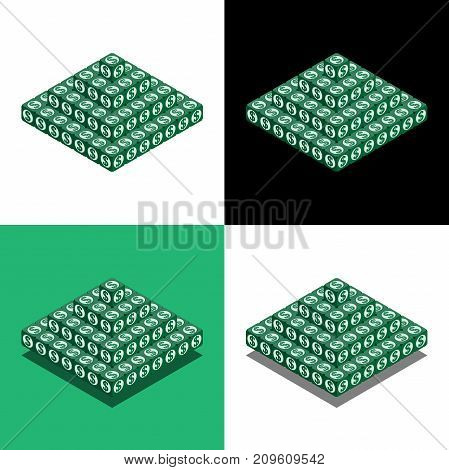 Low Pyramid Of The Cubes With Dollar Logo In Isometric View