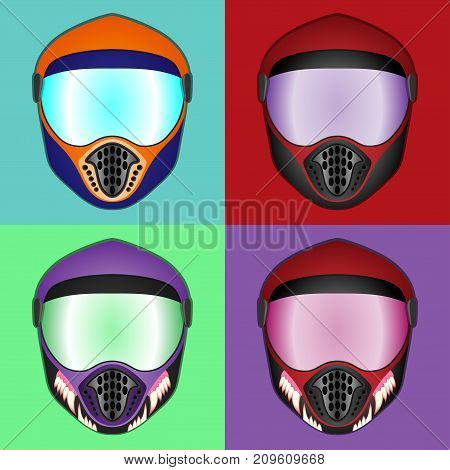 Protective helmet for various extreme sports vector helmet illustration