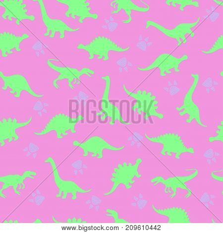 Cute Kids Pattern For Girls And Boys. Colorful Dinosaurs On The Abstract Grunge Background Create A