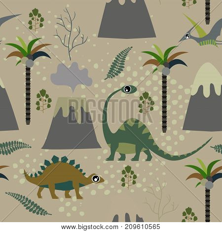 Cute kids dinosaurs pattern for girls and boys. Colorful dinosaurs on the abstract grunge background create a fun cartoon drawing. The background is made in neon colors. Urban dinosaurs backdrop for textile and fabric.