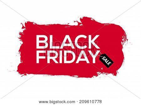 Black Friday abstract red ink splash banner template illustration. Black friday sale grunge label.