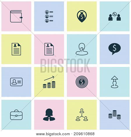 Management Icons Set. Collection Of Coin, Businesswoman, Talking And Other Elements
