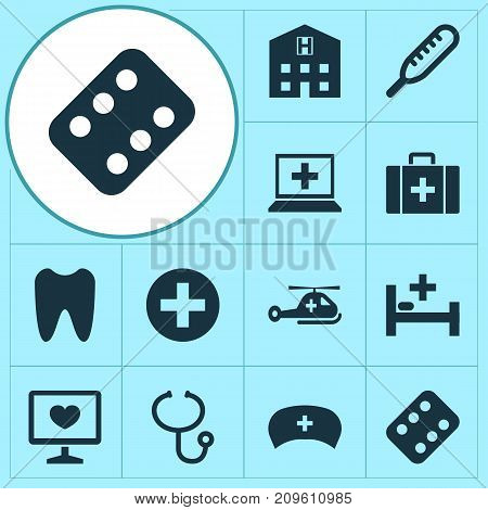 Antibiotic Icons Set. Collection Of Remedy, Copter, Retreat And Other Elements