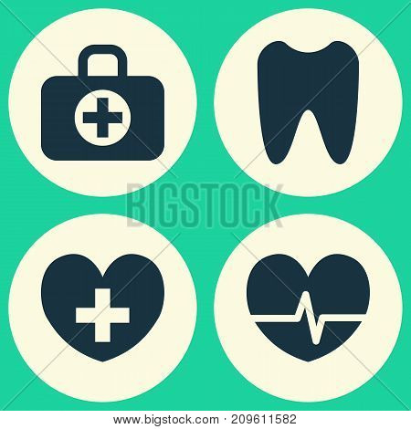 Medicine Icons Set. Collection Of Surgical Bag, Heal, Claw And Other Elements