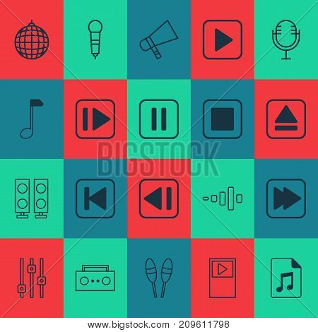 Multimedia Icons Set. Collection Of Run Song Back, Last Song, Microphone And Other Elements