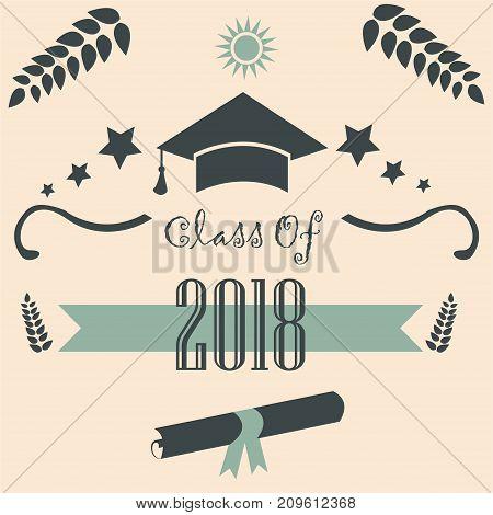 Graduation Class of 2018. Modern Design. Vector Illustration