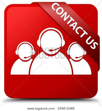 Contact Us (customer Care Team Icon) Red Square Button Red Ribbon In Corner