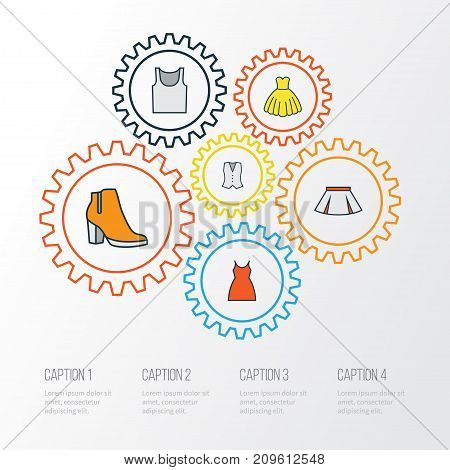 Clothes Colorful Outline Icons Set. Collection Of Female Boots, Evening Gown, Vest And Other Elements