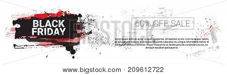 Black Friday Big Holiday Sale Horizontal Banner With Copy Space Over Grunge Background, Shopping Price Discount Concept Vector Illustration