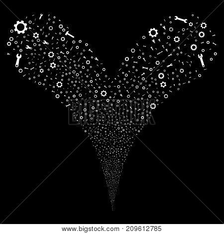 Setup Tools fireworks stream. Vector illustration style is flat white iconic setup tools symbols on a black background. Object fountain organized from random pictograms.